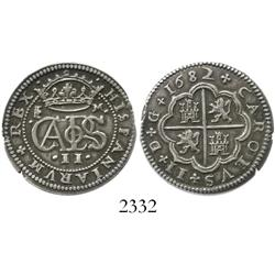 Segovia, Spain, milled 2 reales, Charles II, 1682M.