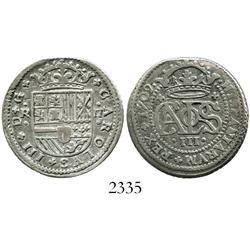 "Barcelona, Spain, milled 2 reales ""pistareen,"" Charles III Pretender, 1709."