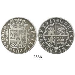 """Madrid, Spain, milled 4 reales """"double pistareen,"""" Philip V, 1740JF."""