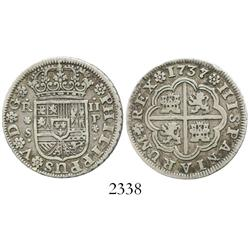 """Seville, Spain, milled 2 reales """"pistareen,"""" Philip V, 1737/6P, rare (unlisted overdate)."""