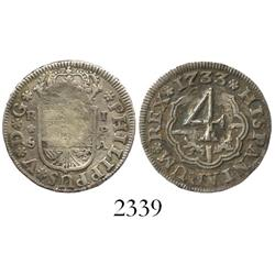 """Seville, Spain, milled 1 real """"half pistareen,"""" Philip V, 1733PA, with unattributed (probably Caribb"""