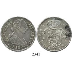 Seville, Spain, bust 4 reales, Charles III, 1782CF, rare.