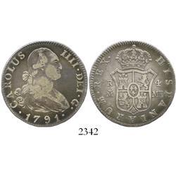 Madrid, Spain, bust 4 reales, Charles IV, 1791MF.