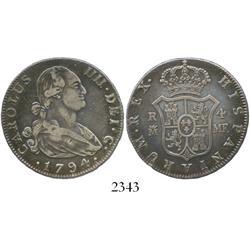 Madrid, Spain, bust 4 reales, Charles IV, 1794MF.