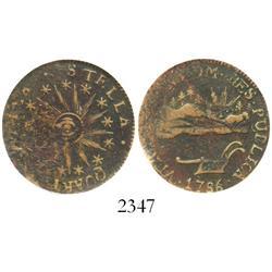 """USA, Vermont copper """"landscape"""" """"cent,"""" 1786, encapsulated SEGS VF-20."""