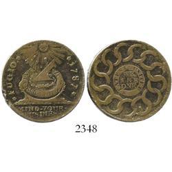 """USA, copper """"fugio"""" """"cent,"""" 1787."""