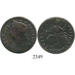 """USA, Connecticut copper """"cent,"""" 1787."""