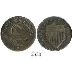 """USA, New Jersey copper """"cent,"""" 1787, small planchet, plain shield, encapsulated NGC XF-40 BN."""
