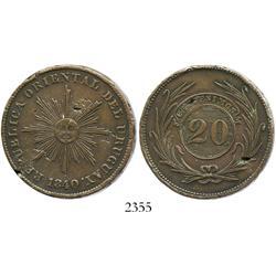 Uruguay, copper 20 centesimos, 1840, scarce.