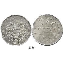 Uruguay, 1 peso fuerte, 1844, mint error with small void in edge.