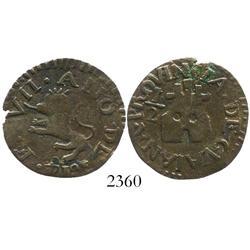 Guayana, Venezuela (Royalist), copper 1/2 real, Ferdinand VII, 1814, large flan.