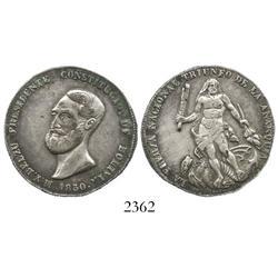 "Bolivia, silver ""4 soles"" proclamation medal, 1850, President Belzu."