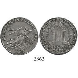 "Bolivia, silver ""2 soles"" proclamation medal, 1852, President Belzu."