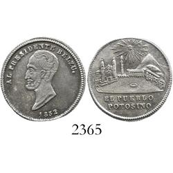 Bolivia, silver  1 sol  proclamation medal, 1852, President Belzu.