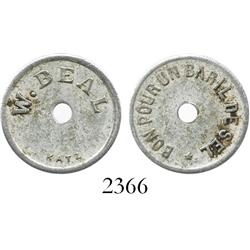 Saint Barts (French West Indies), aluminum merchant token for 1 barrel of salt from W. Beal (early 1