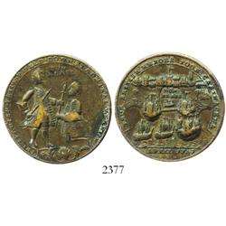 Great Britain, brass Admiral Vernon medal, Vernon and Blas, Cartagena, 1741.