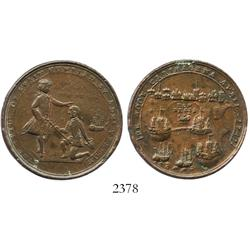 Great Britain, copper Admiral Vernon medal, Vernon and Blas, Cartagena, 1741.