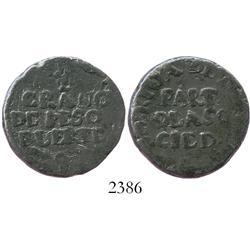 """Mexico (colonial), lead token """"1/2 grano de peso fuerte."""""""