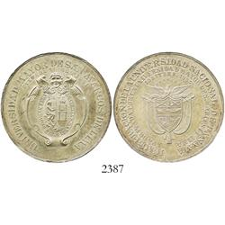 Panama (struck in Lima), silver medal, University of San Marcos de Lima issue by Pareja commemoratin