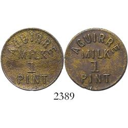 Puerto Rico, brass token for 1 pint of milk from Aguirre (ca. 1920s).