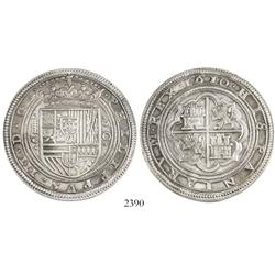 Spain, silver medal (1985) of a Segovia 50 reales (cincuentin) 1610C made from art school dies from