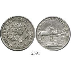"Spain (Barcelona), silver ""2 reales"" proclamation medal, Charles III, 1759."