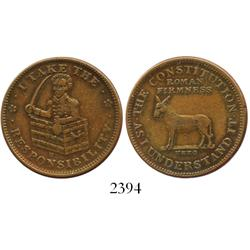 "USA, copper Andrew Jackson ""hard times"" token (1833)."