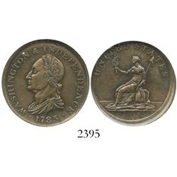 USA, Washington & Independence copper token, 1783 (struck ca. 1820 in England), draped bust, encapsu