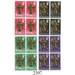 Bermuda, 1969 set of 4 plate blocks (4 stamps in each), one of each color (red=2/6, black=2/0, green