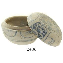 Small, spherical, lidded powder-box, Chinese blue-on-white porcelain.