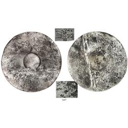 """Tumbaga"" silver rodela, or moon-disc (Tarascan culture of Mexico, 1500s) stamped with Spanish Charl"