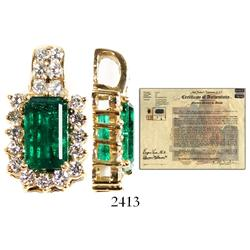 High-grade emerald, 4.04 ct., table-cut and set into a rectangular women's gold pendant with 19 diam