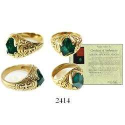 Large, high-grade emerald, cut and set into a large men's gold ring.