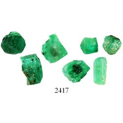 Lot of 7 small, natural emeralds, total weight 4.47 carats.