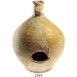 Earthenware jug, lightly encrusted.