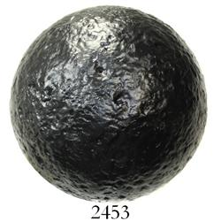 "Large, iron cannonball, ""24-pounder,"" professionally conserved."
