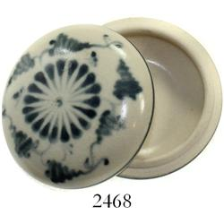 Blue-on-white Chinese porcelain lidded powder-box, perfectly preserved.