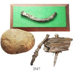 Lot of ballast stone and 3 copper spikes (one mounted on a wooden base and one in part of the origin