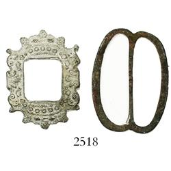 Lot of 2 bronze/pewter buckles.