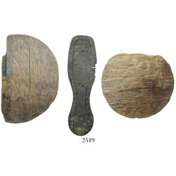 Lot of 2 wooden powder-keg ends with complete leather ladies shoe sole with heel.