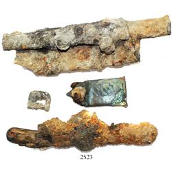 Lot of encrusted items consisting of a complete but encrusted folding knife (navaja) and 3 incomplet