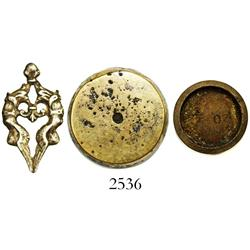 Lot of 3 small artifacts: one silver applique and two brass disk weights.