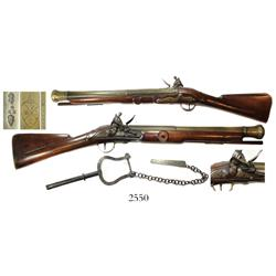 British East India Co. flintlock rail gun, maker Nock, dated 1802, in perfect working order, with mo