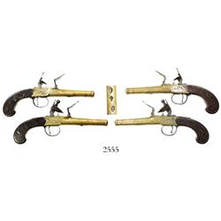 Matched set of British box-lock flintlock dueling pistols, early 1800s, great working order.