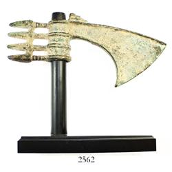 Ancient Luristan (northern Persia, now Iran), bronze axe head, ca. 1500 BC, with custom stand.