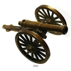 Small brass cannon and carriage, ca. 1790-1820.