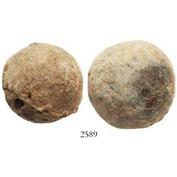 Lot of 2 lead-wrapped (rare thus) iron small cannonballs.