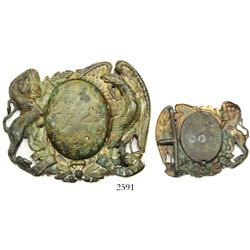 Gilt brass sash buckle, US Civil War-period (early 1860s), found in the United Kingdom, rare.