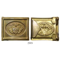 Brass military belt buckle, ca. 1900 (patent dated 1881), found and used in Panama under the Colombi
