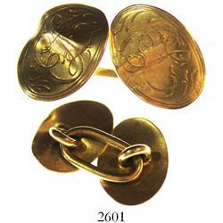 Gold cufflink, late 1800s(?).